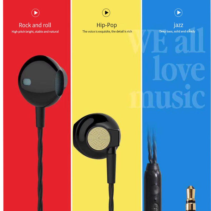 Earphones Bass in-Ear Earbuds Headphones with Microphone and Volume Control 1.2M