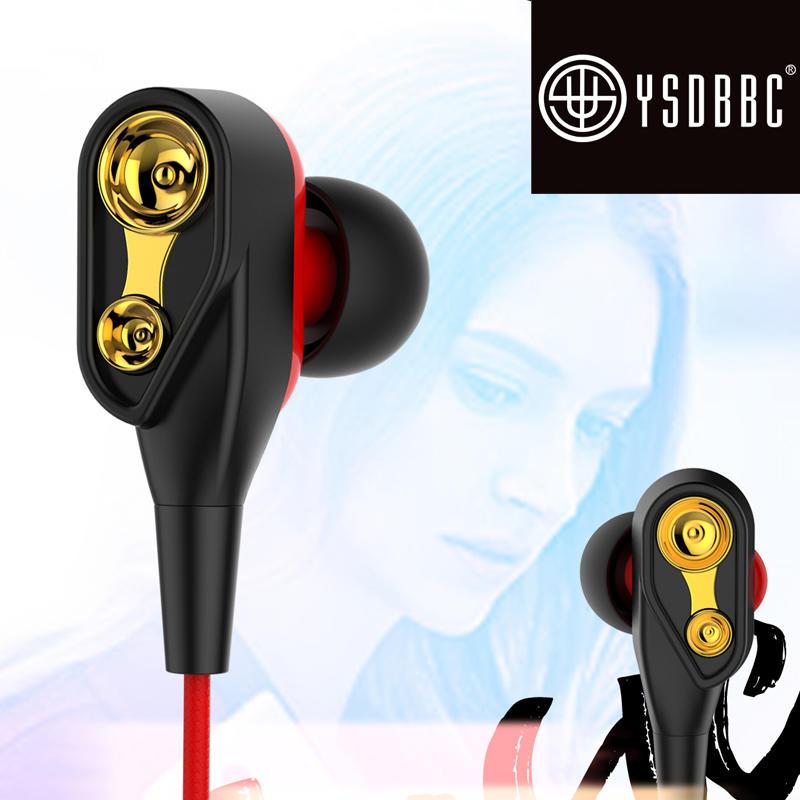 in Ear Earbuds with Mic Noise Cancelling Headphones Bass Dual Driver Earphones Volume Control Headsets Compatible for iOS Android Laptop with 3.5mm Jack
