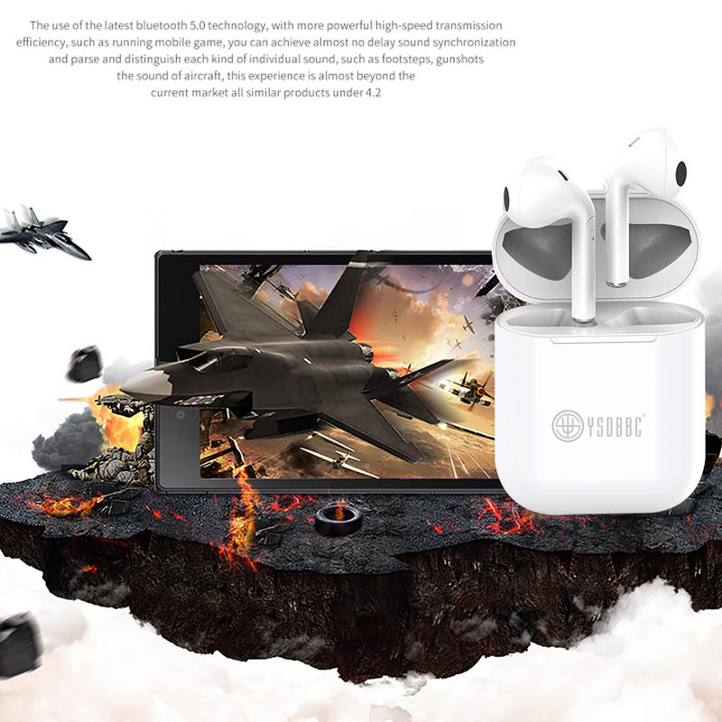 True Wireless Earbuds Bluetooth Headphones Touch Control with Wireless Charging Case IPX8 Waterproof TWS Stereo Earphones in-Ear Built-in Mic Headset Premium Deep Bass for Sport